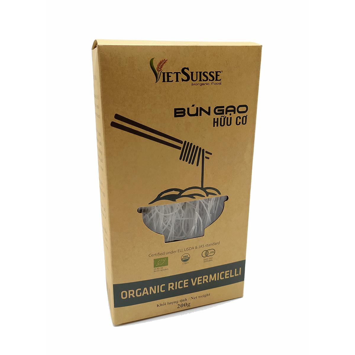 Organic rice vermicelli VietSuisse 200g - Bún gạo hữu cơ VietSuisse 200g - Sản phẩm hữu cơ, nhập khẩu