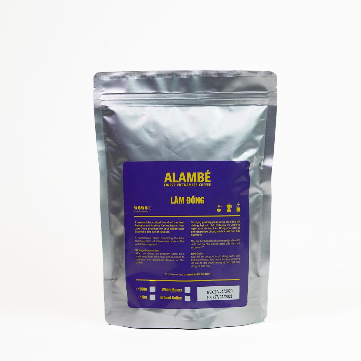 Cà phê nguyên hạt Lâm Đồng ALAMBÉ 500g