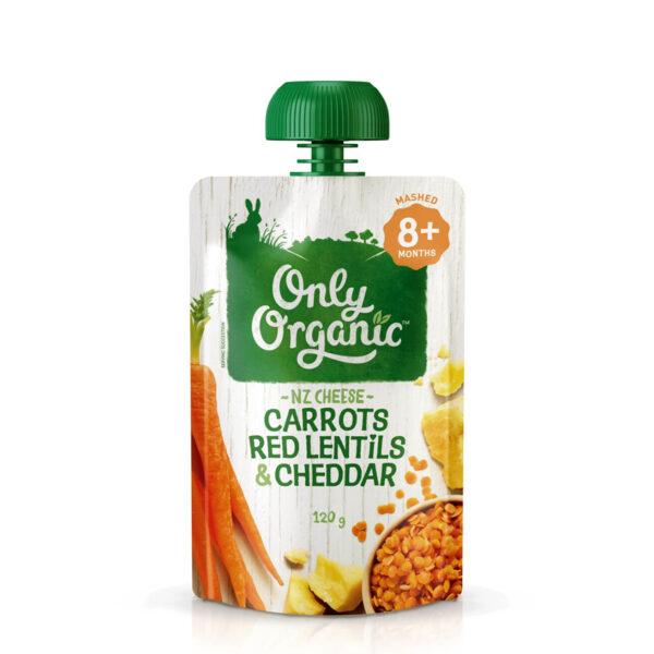 Thức ăn trẻ em Hữu Cơ carot, đậu lăng đỏ & phô mai Cheddar 120g