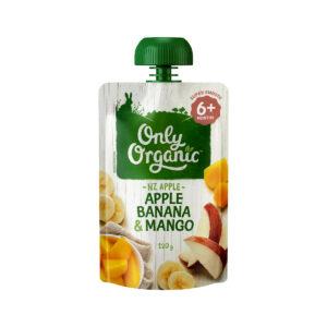 Organic Apple, Banana & Mango 120g - Thức ăn trẻ em Hữu Cơ Táo, Chuối & Xoài 120g - Sản phẩm hữu cơ, nhập khẩu